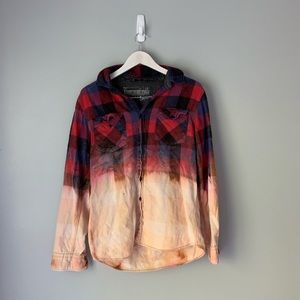 Bleached distressed flannel shirt
